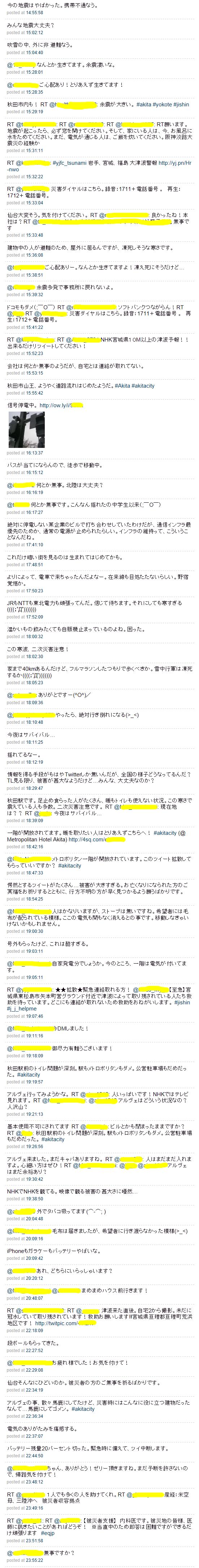 3/11震災直後のツイート